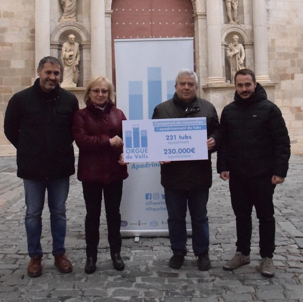 L'orgue de Valls ja supera els 230.000 € en tubs apadrinats